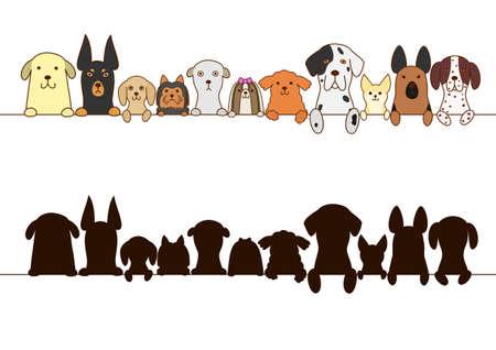 gros chiens et petits chiens frontière avec la silhouette