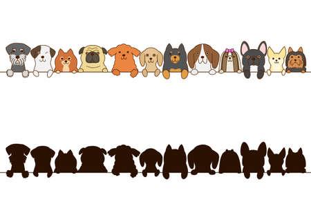 Los perros pequeños frontera con la silueta Foto de archivo - 65002926