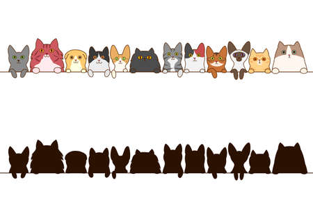calico: cats border set with silhouette