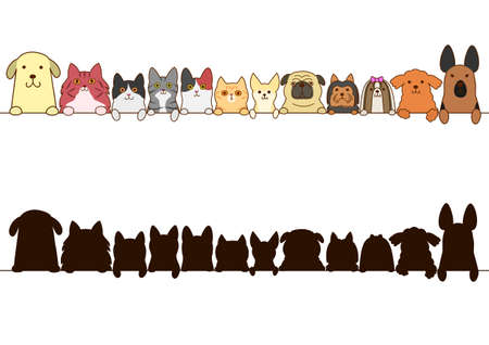 cats and dogs border set with silhouette