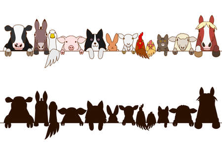 farm animals border with silhouette