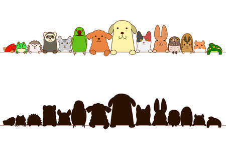 pet animals border with silhouette