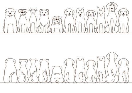 大型犬ボーダー セット、正面図、背面図、ライン アート