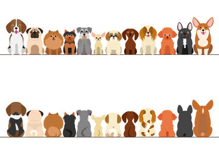 small dogs border set, front view and rear view  イラスト・ベクター素材