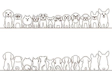 pequeño conjunto perros frontera, vista frontal y vista posterior, la línea de arte