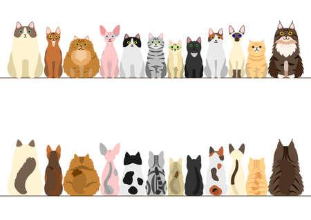 gatos conjunto frontera, vista frontal y vista trasera Ilustración de vector