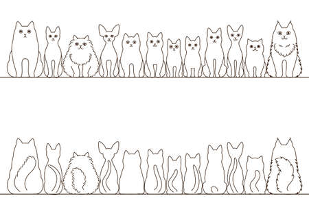 cats border set, front view and rear view, line art Illustration