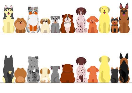 kleine en grote honden die grens, vooraanzicht en achteraanzicht