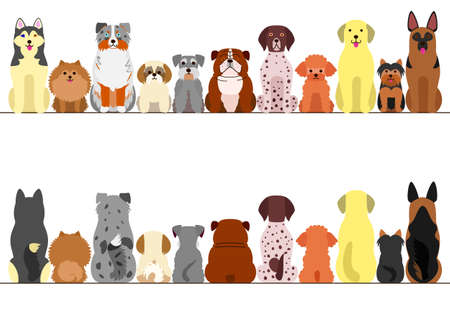 small and large dogs border set, front view and rear view 向量圖像