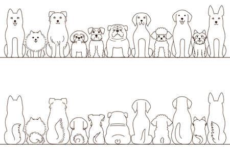 pequeñas y grandes perros conjunto frontera, vista frontal y vista posterior, la línea arte Ilustración de vector