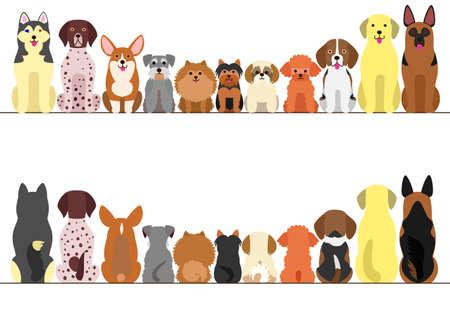 kleine en grote honden grens set, vooraanzicht en achteraanzicht, lijntekeningen