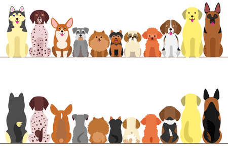 small and large dogs border set, front view and rear view, line art