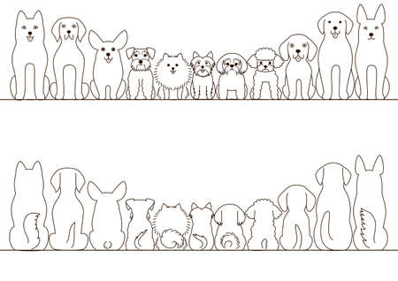retreiver: small and large dogs border set, front view and rear view, line art