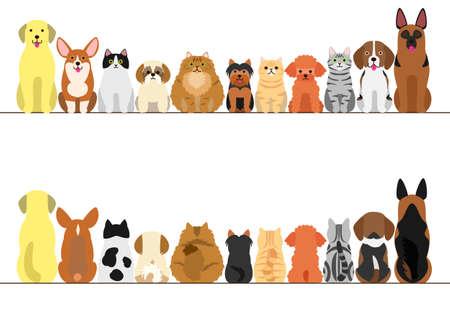猫と犬ボーダー セット、正面図と背面図