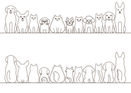 retreiver: cats and dogs border set, front view and rear view, line art
