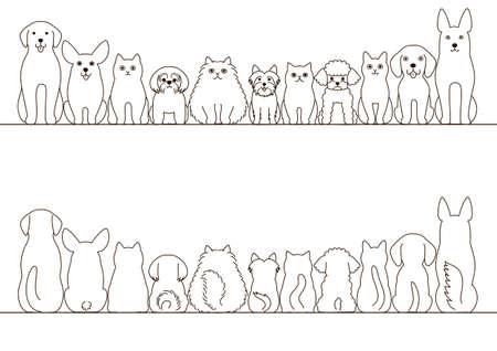 gatos y perros conjunto frontera, vista frontal y vista posterior, la línea de arte
