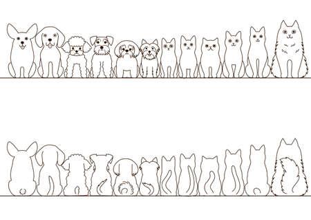 gatos y perros pequeños conjunto de fronteras, vista frontal y vista posterior, la línea de arte