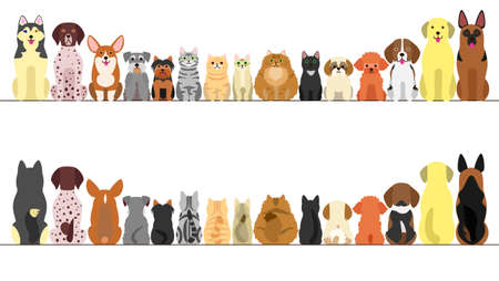 large and small dogs and cats banner set, front view and rear view