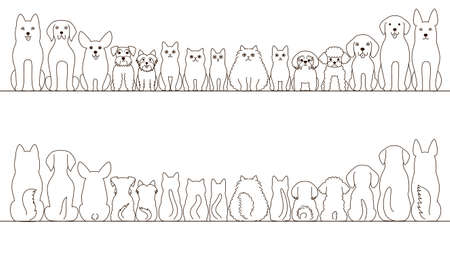 welsh: large and small dogs and cats banner set, front view and rear view, line art