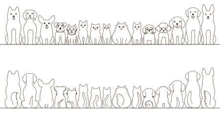 miniature breed: perros grandes y pequeños y gatos conjunto bandera, vista frontal y vista posterior, la línea de arte