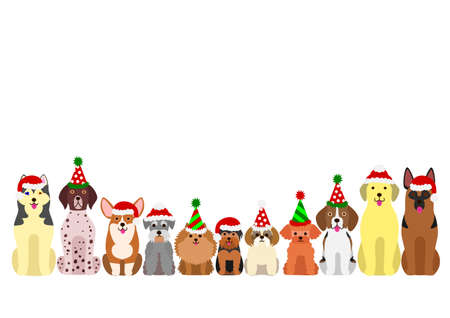 small and large dogs border set with christmas party hat Illustration