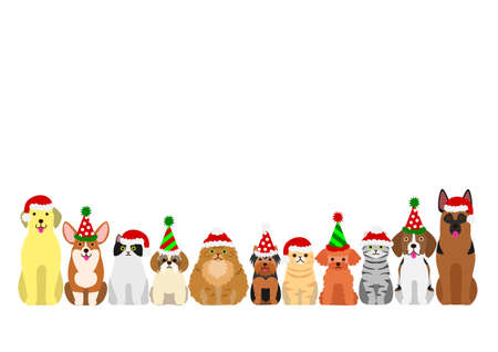 cats and dogs border set with christmas party hat