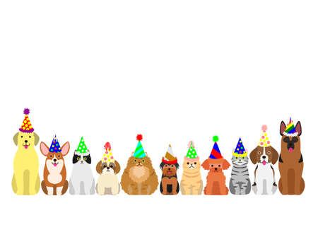 dog toy: cats and dogs border set with colorful party hat Illustration