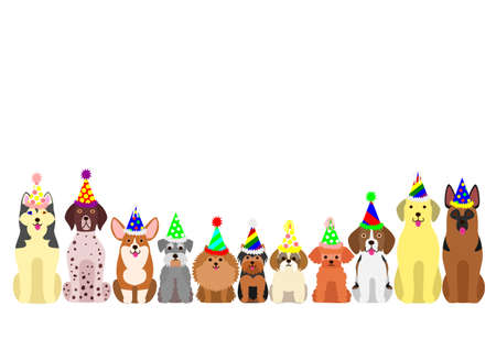 shih: small and large dogs border set with colorful party hat