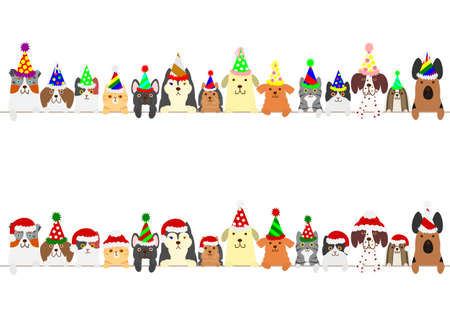 party dogs and cats border set Stock Vector - 69002752