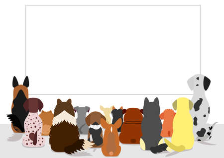 looking at view: dogs group looking at blank board, rear view Illustration