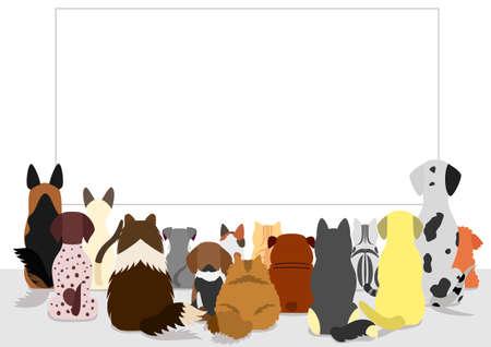 空板、背面を見て猫と犬のグループ