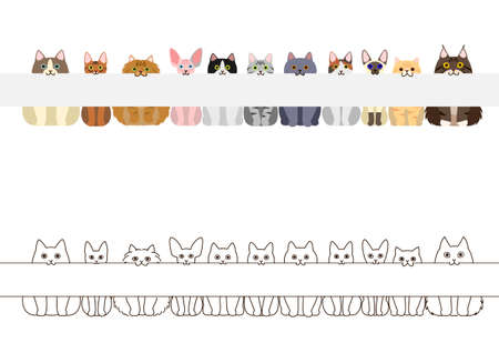 cats border set, with long blank board in their mouthes