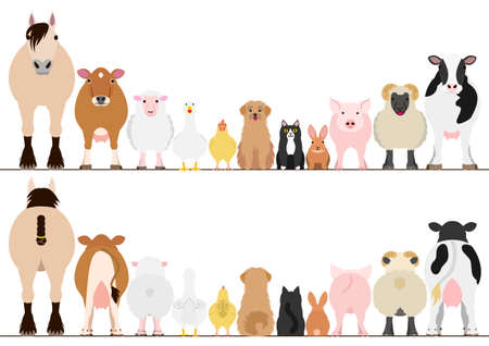farm animals border set, front view and rear view