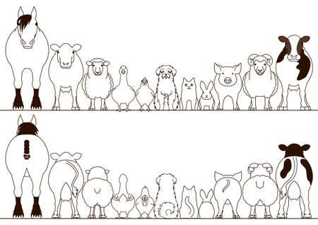농장 동물 경계 세트, 정면 및 후면보기, 라인 아트 일러스트