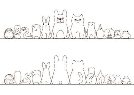 los animales de compañía conjunto frontera, vista frontal y vista posterior, la línea de arte