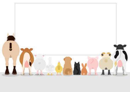 looking at view: farm animals looking large blank board, rear view Illustration