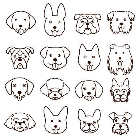 cute dogs faces line art set