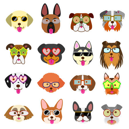 cute dogs faces with glasses