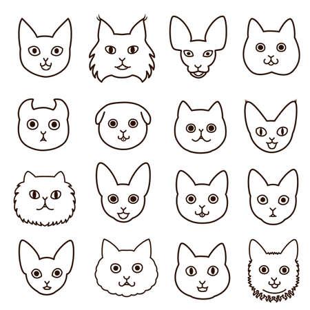 bobtail: cute cats faces line art set Illustration