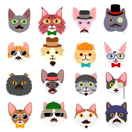 hipster kitten faces set Illustration