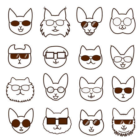 abyssinian: kittens faces with glasses set Illustration