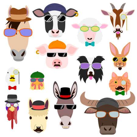 hip farm animal faces set