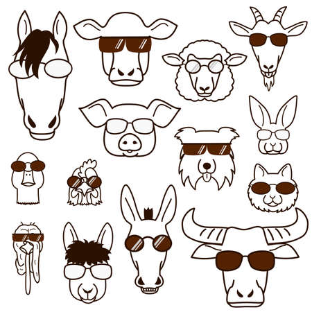 farm animal faces with glasses set, line art Illustration