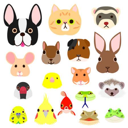 ペット動物顔のカラフルなセット