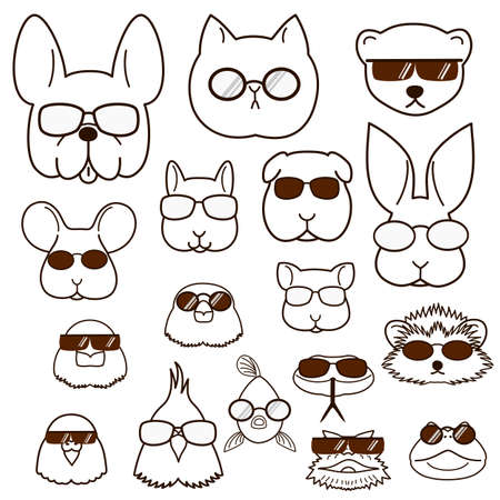 pet animals faces with glasses set