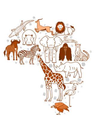 アフリカの動物の足跡の背景設定  イラスト・ベクター素材