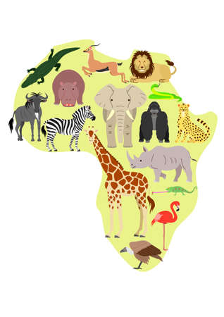 アフリカ動物アフリカ マップの背景の設定