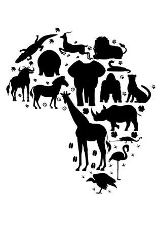 africa chameleon: African animal silhouette set with footprints Illustration