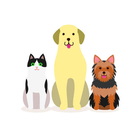 Small group of dogs and cat Illustration