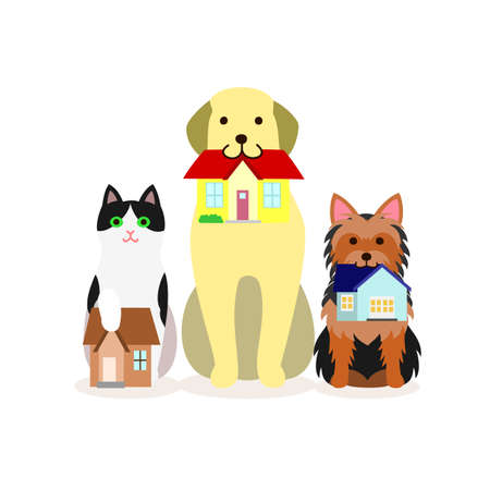 Small group of dogs and cat with small house